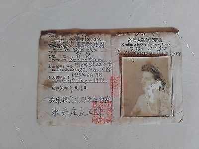 Rare 1938. Japanese identity card ID for foreigner passport