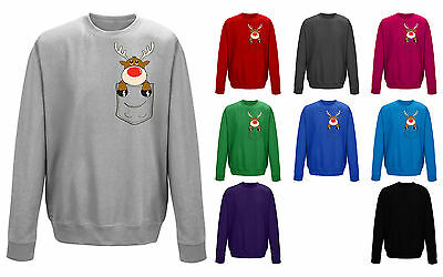 Kids Childrens Pocket Reindeer Cute Christmas Character Print Sweatshirt Jumper