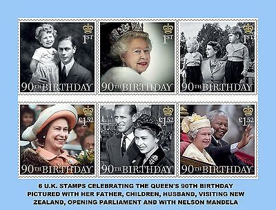 Copies Of 6 British Stamps In Honor Of The Queens 90Th Birthday