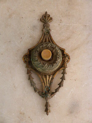 Antique French bronze doorbell push bell button