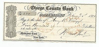 1854 Otsego Couty Bank, Cooperstown, Ny Bank Check