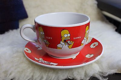 The Simpsons Homer Large Giant Cup Mug and Saucer 2001 20th C Fox Rare Novelty!