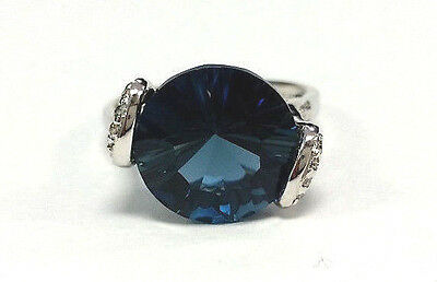 Estate Jewelry 10k White Gold Large Round Blue Topaz & Diamond Accent Ring