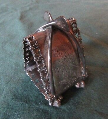 Napkin Ring, Double Wishbone, Meriden, Nice!.  Estate Collection