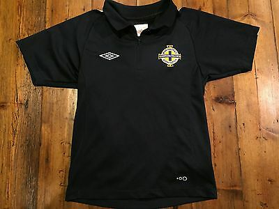 NORTHERN IRELAND FOOTBALL Umbra Boy's Blue Polo Jersey- Size Small 7/8 (134)