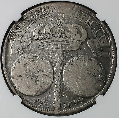 1684 NGC VG 10 NAPLES & SICILY Silver Ducato 2 GLOBES Italy Coin (16112202C)