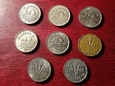 Canada 5 Cents 1937 - 1945