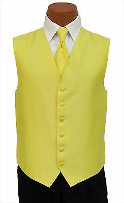 Medium Mens Yellow Armanno Fullback Wedding Prom Formal Tuxedo Vest and Tie
