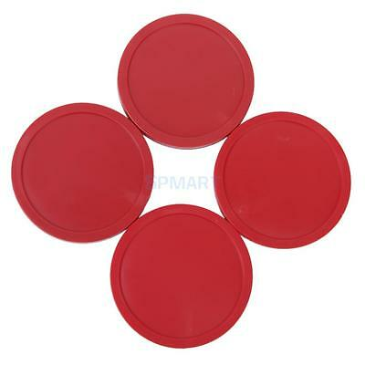 1 set of 4Pcs Red Air Hockey Goalies Table Pucks 83mm LARGE Felt Pusher mallet