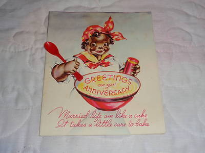 1947 Greetings on Yo' Anniversary Black Americana Rust Craft Card w/ Spoon