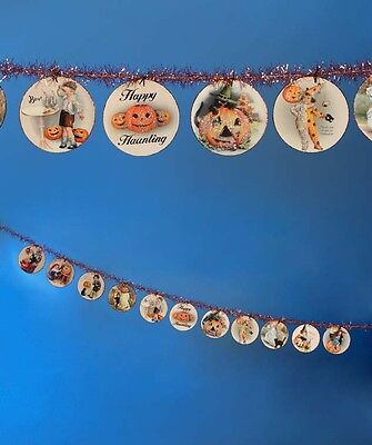 Halloween Disc Garland 6FT Happy Haunting Bethany Lowe Vintage images Tinsel New