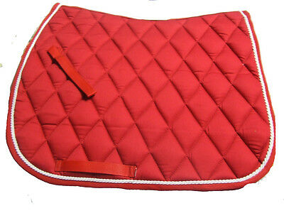 Ecotak Full size Dressage saddle cloth/pad/blanket Red with White rope piping