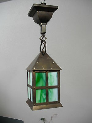 Solid Brass and Green Stained Glass Mission Porch Light Lot #  LT0822
