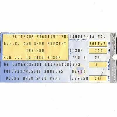 THE WHO Concert Ticket Stub PHILADELPHIA PA 7/10/89 THE KIDS ARE ALRIGHT TOUR