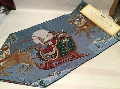 "Damask Tapestry Table Runner Santa Sleigh and Reindeer 13"" x 54"" new with tags"