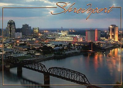 Aerial View of Shreveport Louisiana, Red River, Bridge, Waterfront etc. Postcard