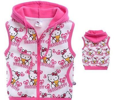 SANRIO HELLO KITTY sleeveless HOODIE JACKET JUMPER Hoody Sweatshirt all sizes