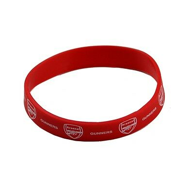 Arsenal Rubber Crest Single Wristband - Fc Red Silicone Football Club Genuine