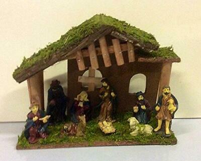 New Design 30cm Wooden Nativity Set + 9 Figures Christmas Scene N162223