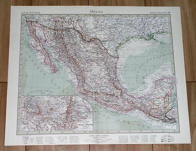 1932 Original Vintage Map Of Mexico