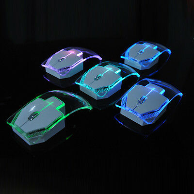 2.4GHz Ultrathin Wireless Optical Mouse Silent Glowing Transparent LED Game Mice