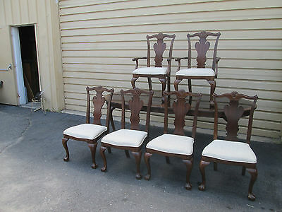 "55884  Banded Mahogany Dining table +  6 Chairs Chair s    Top 104""  x 42"""