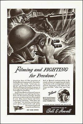 1943 WW2 Ad  Bell & Howell FILMO movie cameras GI's filming (010115)