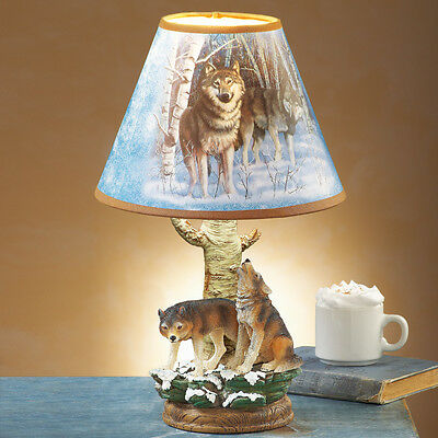 Wild Wolves Forest Wolf Tabletop Table Lamp Light Home Decor New