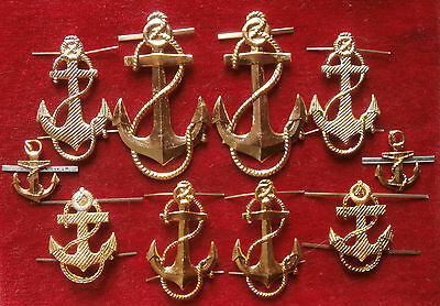 Soviet Russian 10 anchors on epaulets,an ornament on a jacket & a cockarde