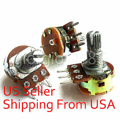 10x 500K ohm Linear Taper Rotary Potentiometer Pot ON OFF Switch B500K 15mm