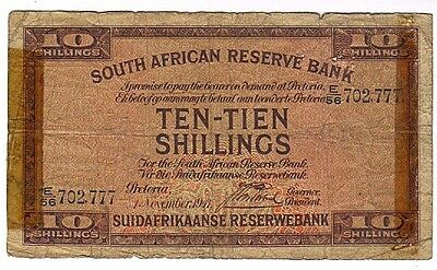 SOUTH AFRICA 10 Shillings 1941 J. Postmus Signature P82d Tape Chain Note