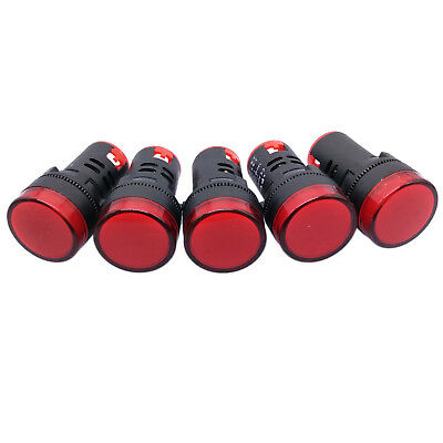 5 pcs Red LED Power Indicator Signal Light AC DC 110V 22mm AD16-22DS