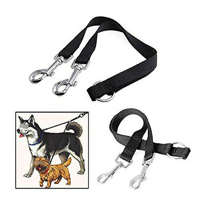 Pop Pet 2-WAY LEATHER DOG LEAD DOUBLE LEASH SPLITTER WITH CLIPS COLLAR HARNESS