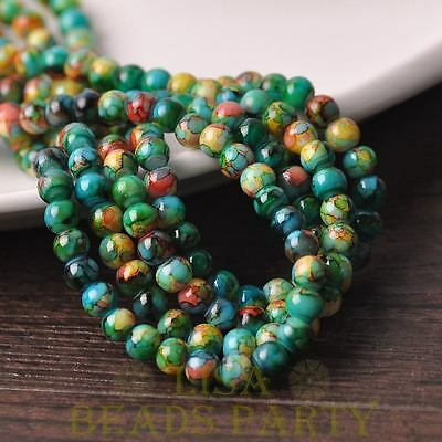 New 50pcs 6mm Round Glass With Color Coated Loose Spacer Beads Green Colorful