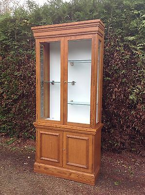 Gorgeous Tall Oak Display Cabinet With Storage Base