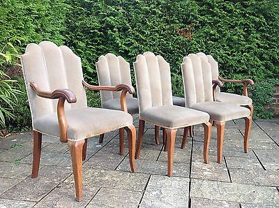 Stunning Set of 6 Art Deco Dining Chairs incl 2 Carvers shell shaped backs