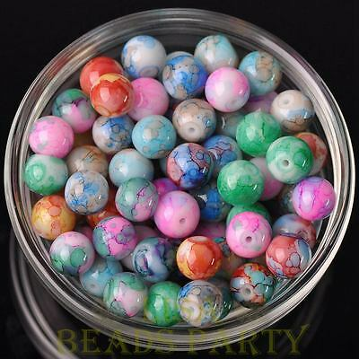 New 50pcs 6mm Round Glass With Color Coated Loose Spacer Beads Random Mixed