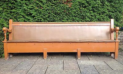 Fabulous Painted Retro Pitch Pine Church Pew / Settle / Bench with Six Box Seats