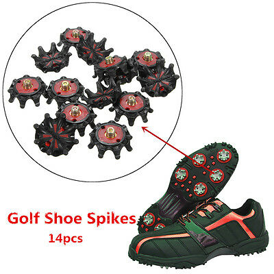 14 Pcs Soft Black Golf Shoe Spikes Metal Thread Studs Replacement For Foot Joy