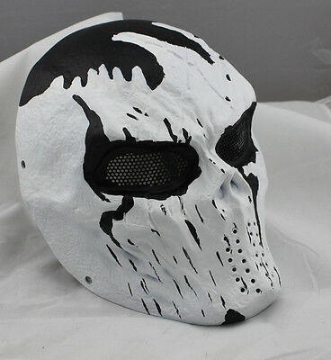 Adult Full Face Airsoft Paintball War Games Cacique White Protection Mask
