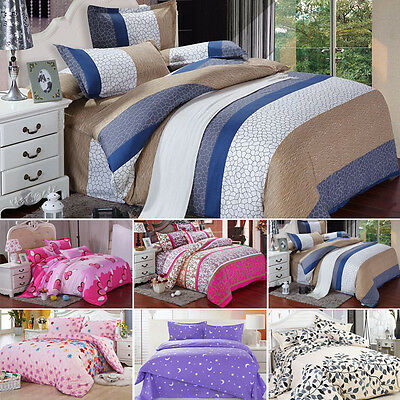 New Cotton Duvet Cover with Pillow Case Quilt Cover Bed Set Single Double & King