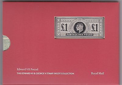 Edward Vii Pound Silver Stamp Ingot In Card Flatpack