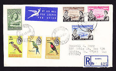 Bechuanaland Protectorate stamps on 1964 registered cover Serowe to USA R-Brief