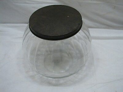 Globe Glass Counter Ball Jar Container Ribbed Striped Sugar/Cookie/Candy Ribbed