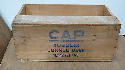 Lovely Vintage 1960s  Argentinian Wooden Export Crate CAP Corned Beef (5163)