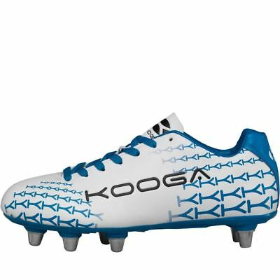 Kooga Control Rugby Boots White/Blue Soft Ground Mens Studs Cleats Footwear
