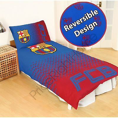 Fc Barcelona Fade Single Duvet Cover And Pillowcase Set Official Free P+P New