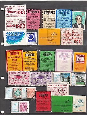 Poster Stamps, A Collection Of 25 Philatelic Exhibition Labels