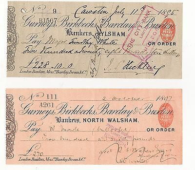 Two Cheques, Gurneys, Birkbecks, Barclay & Buxton, North Walsham & Aylsham,1890S
