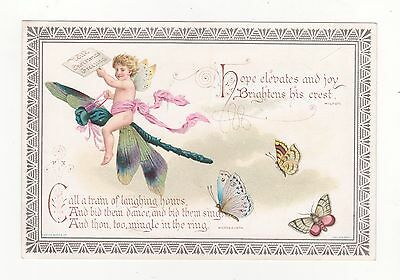 Victorian Christmas Card, Boy Riding On A Dragonfly, Marcus Ward,  C.1890's